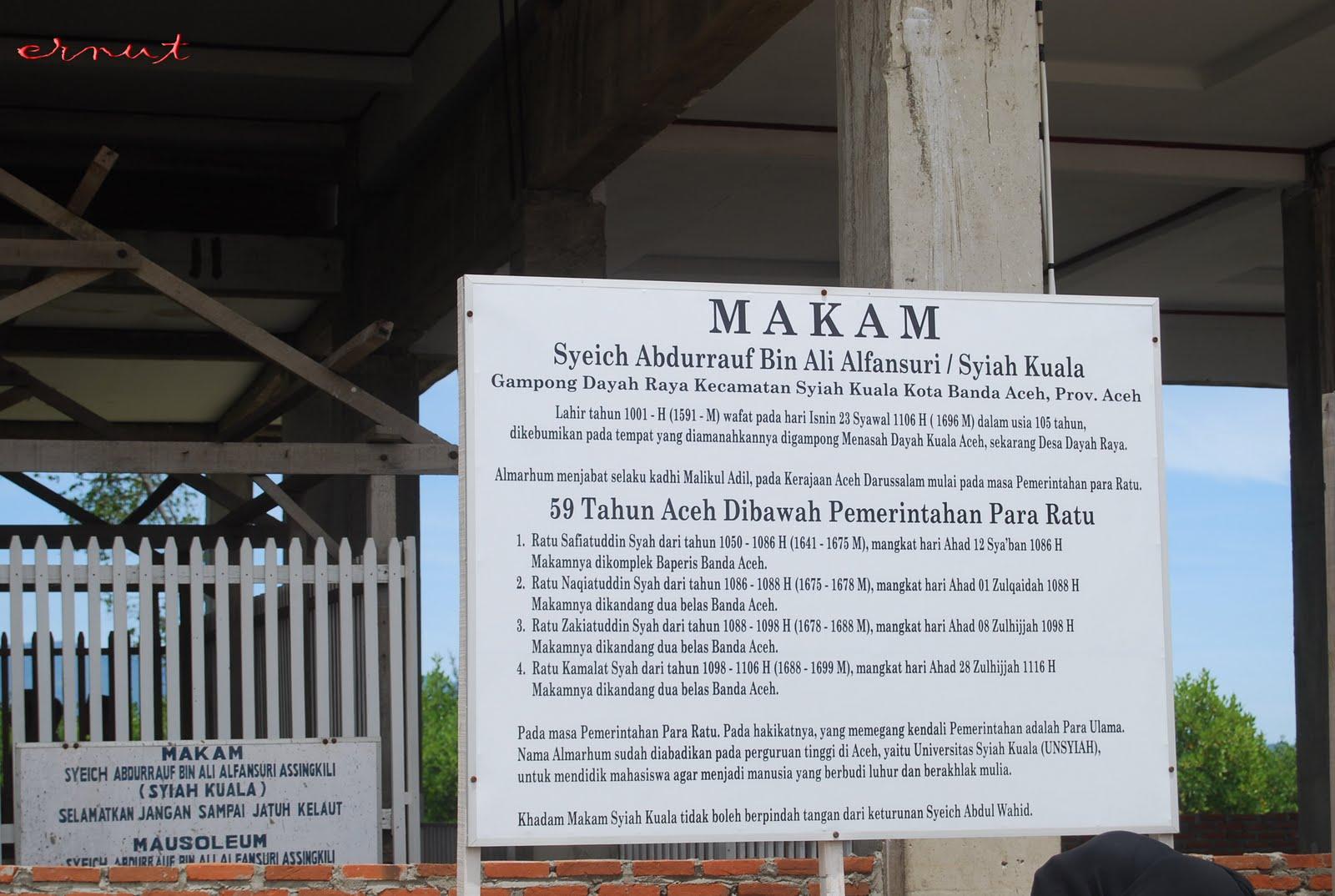 Bala Kurawa Ernut Makam Syiah Kuala Kota Banda Aceh