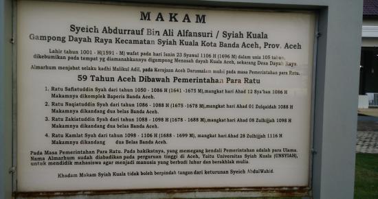 Kompleks Makam Syiah Kuala Picture Sheikh Graveyard Keterangan Kota Banda