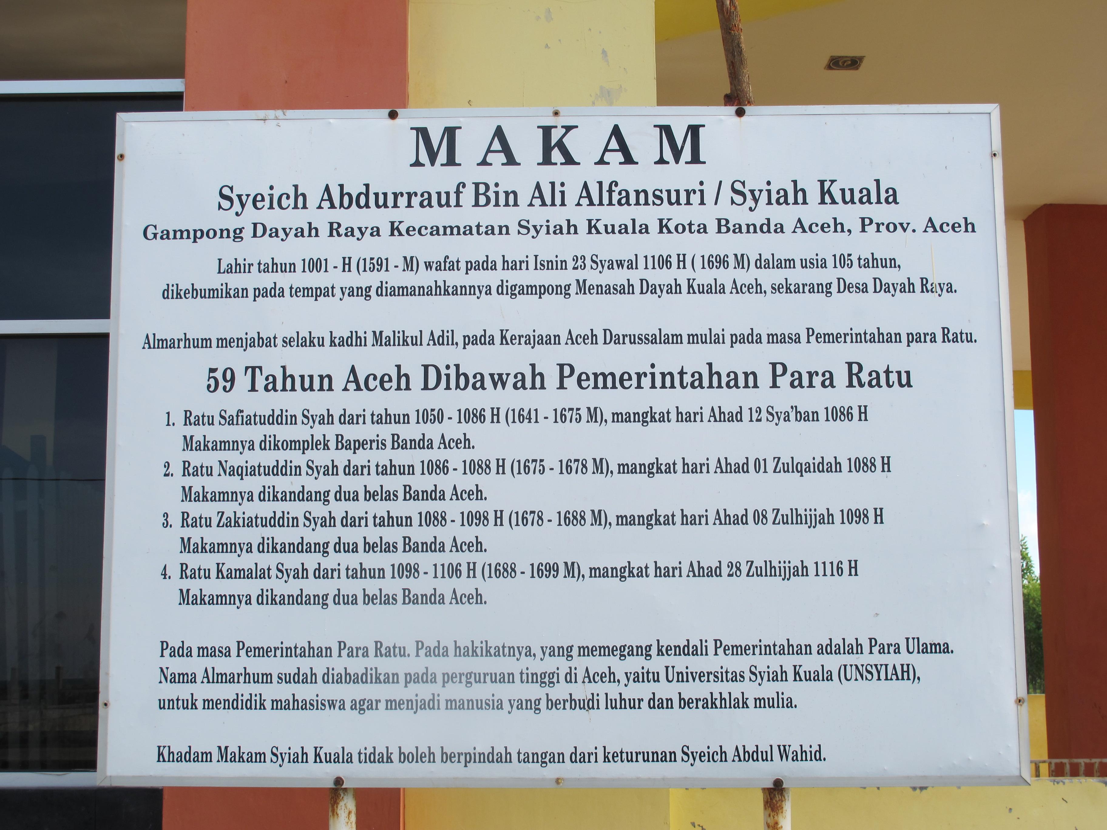 Makam Teungku Syiah Kuala Banda Aceh Kota