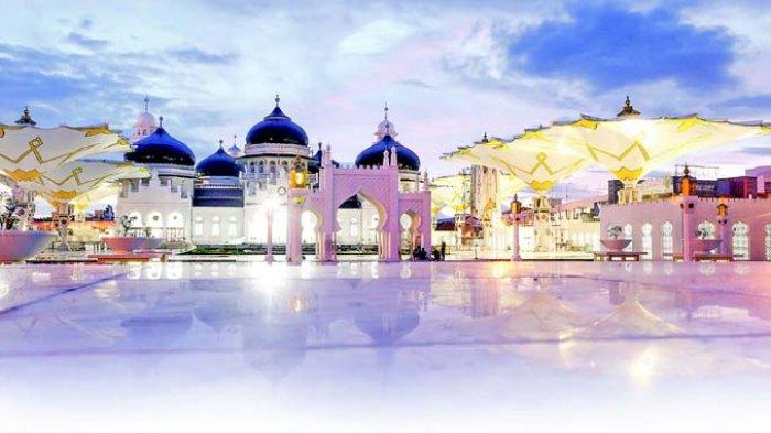Hari Wapres Resmikan Payung Masjid Raya Serambi Indonesia Baiturrahman Kota