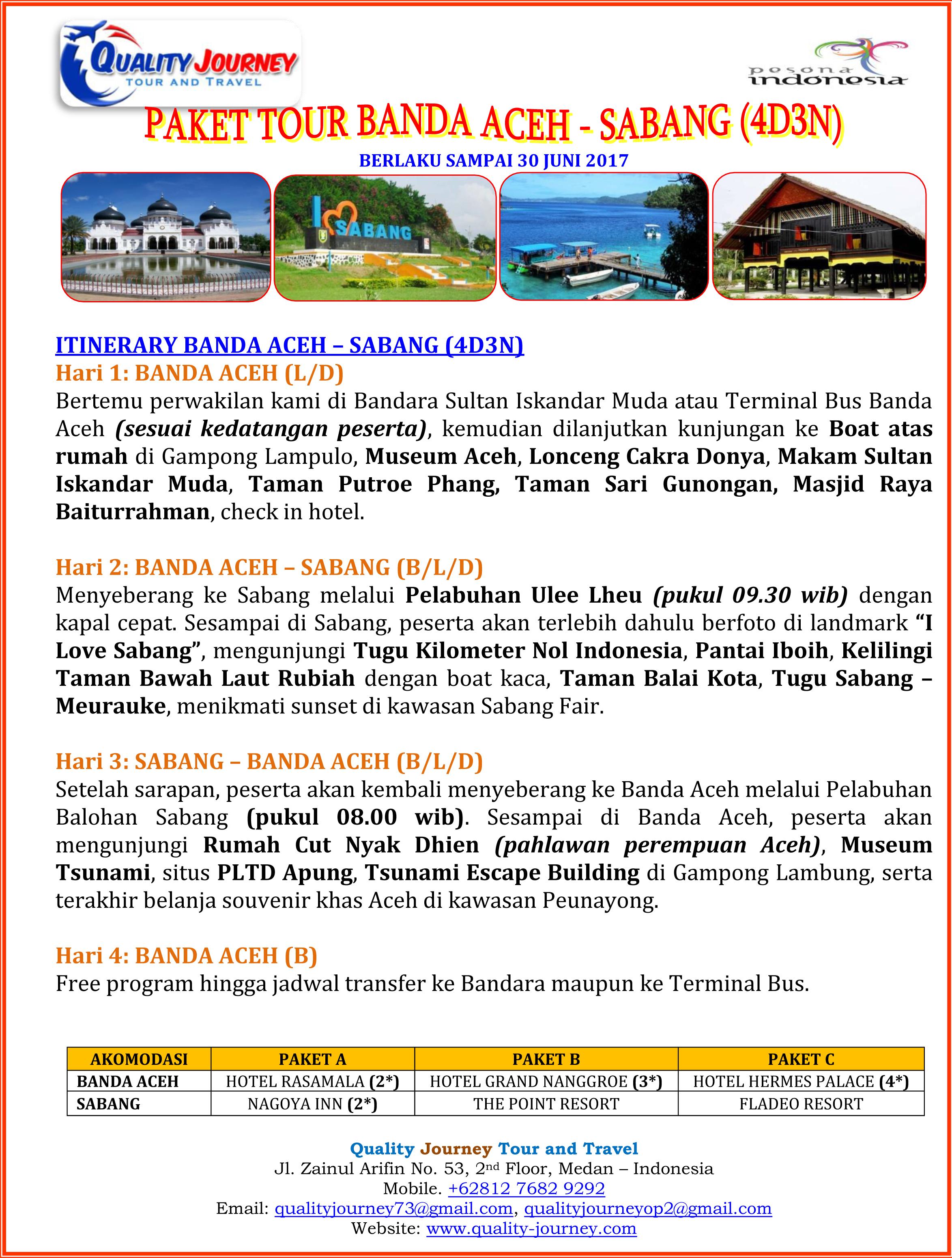 4d3n Tour Banda Aceh Sabang Quality Journey Paket 2017 1