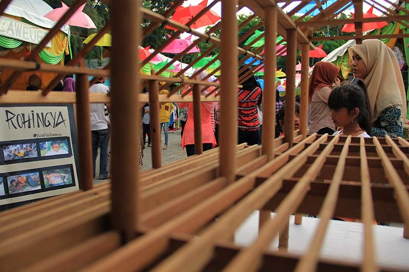 Foto Pekan Kreatif Banda Aceh 2015 Miniatur Kerangka Rumah Adat
