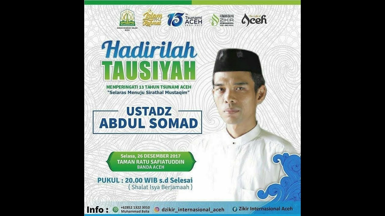 Ustadz Abdul Somad Tausiyah Memperingati 13 Tsunami Aceh Taman Ratu