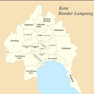 Kota Bandar Lampung Wikipedia Bahasa Indonesia Ensiklopedia Bebas Peta Kecamatan