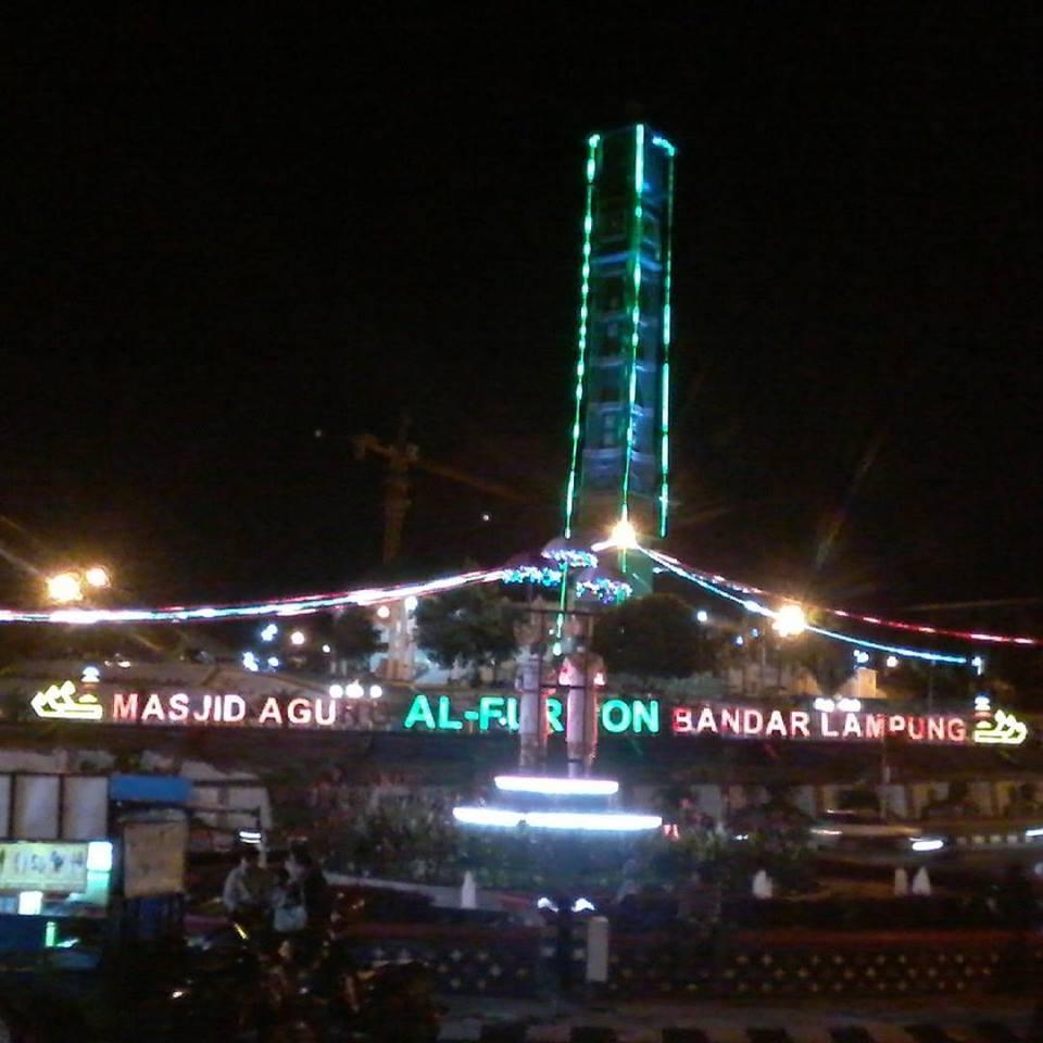 Tugu Adipura Masjid Agung Al Furqon Dua Icon Bandar Lampung