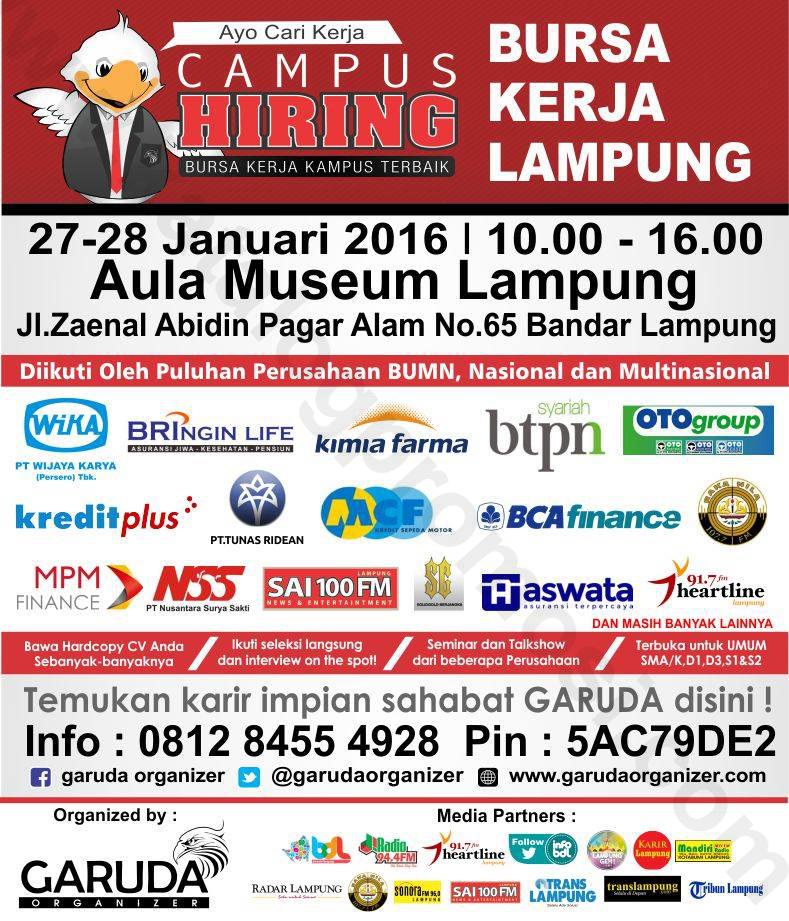 Bursa Kerja Campus Hiring Lampung 27 28 Januari 2016 Aula