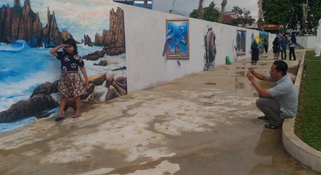 Lukisan 3 Dimensi Taman Gajah Bandar Lampung Jadi Lokasi Favorit