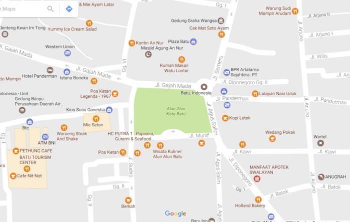 Menikmati Alun Kota Batu Oleh Iwan Nugroho Kompasiana Peta Googlemap