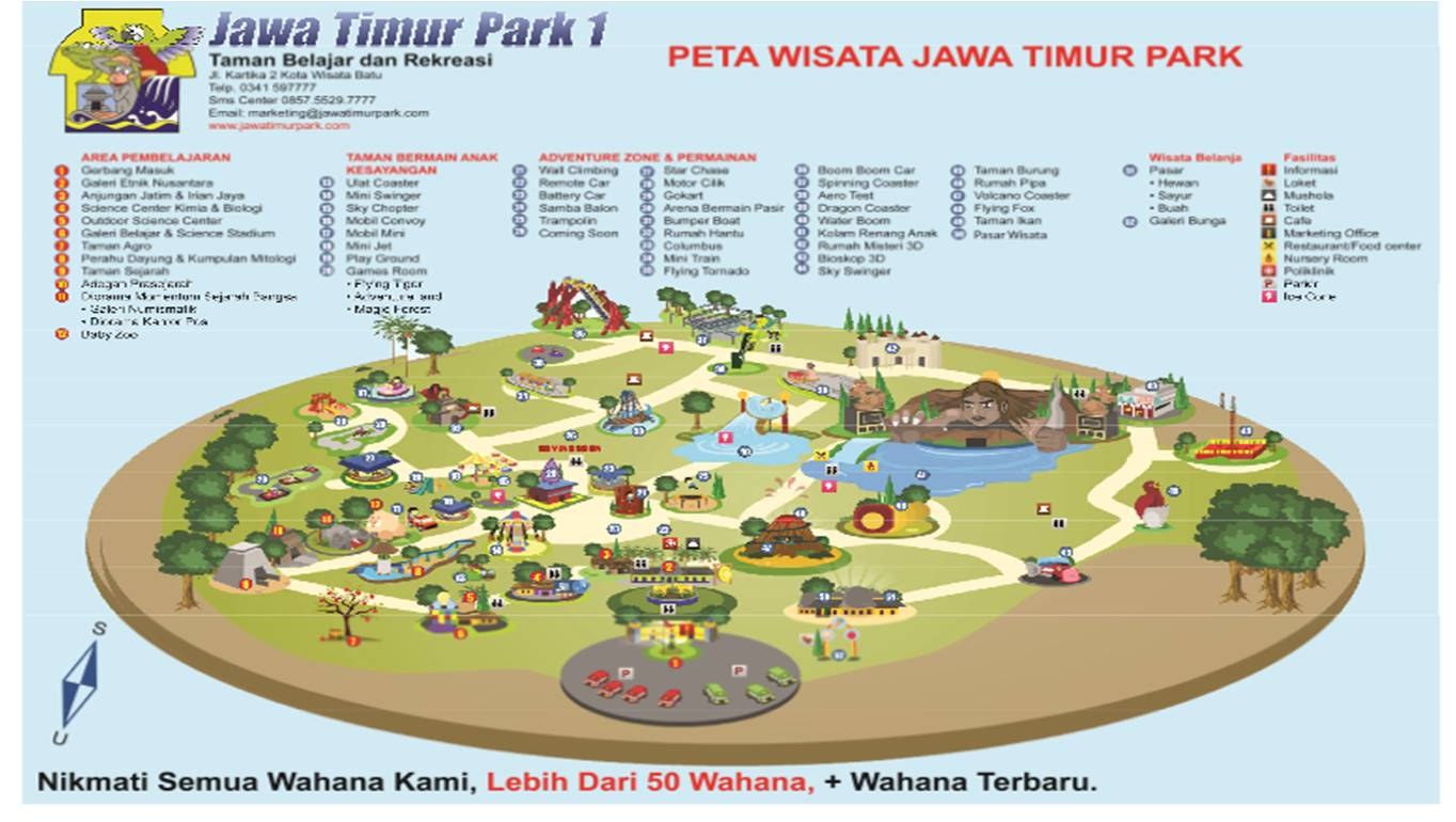 Rekreasi Sambil Belajar Taman Jawa Timur 1 Jatim Park Peta
