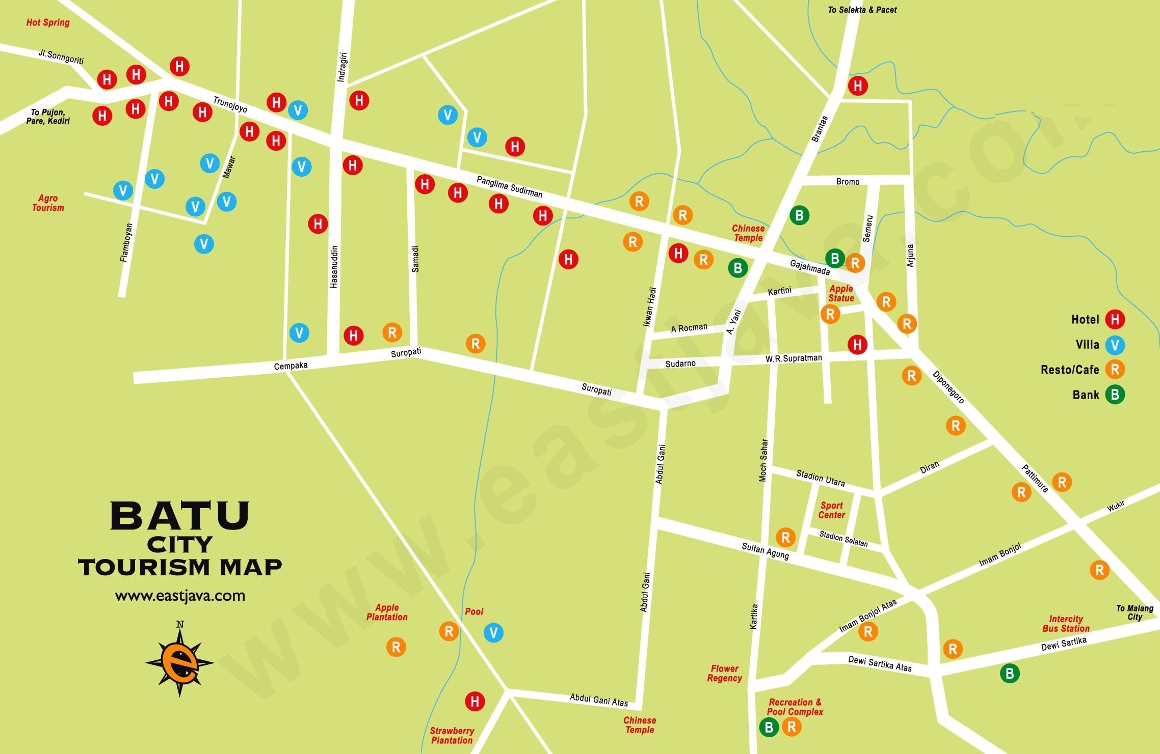 Peta Kota Batu Wisata Jawa Timur Google Map Songgoriti