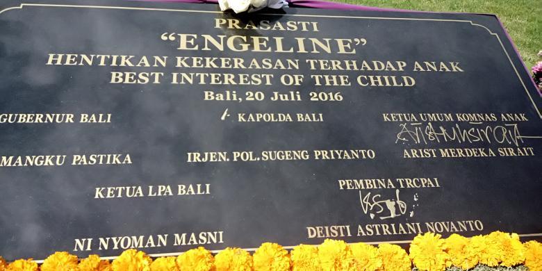 Prasasti Patung Engeline Dibangun Bali Kompas Desa Budaya Kertalangu Denpasar