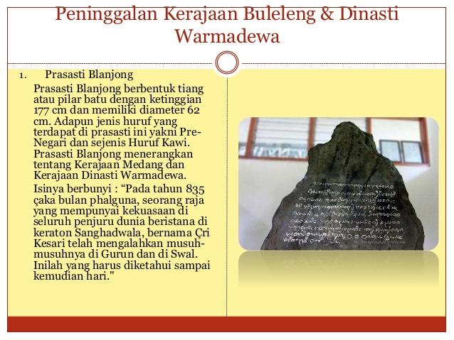 Kerajaan Buleleng Dinasti Warmadewa 19 Prasasti Blanjong Kota Denpasar