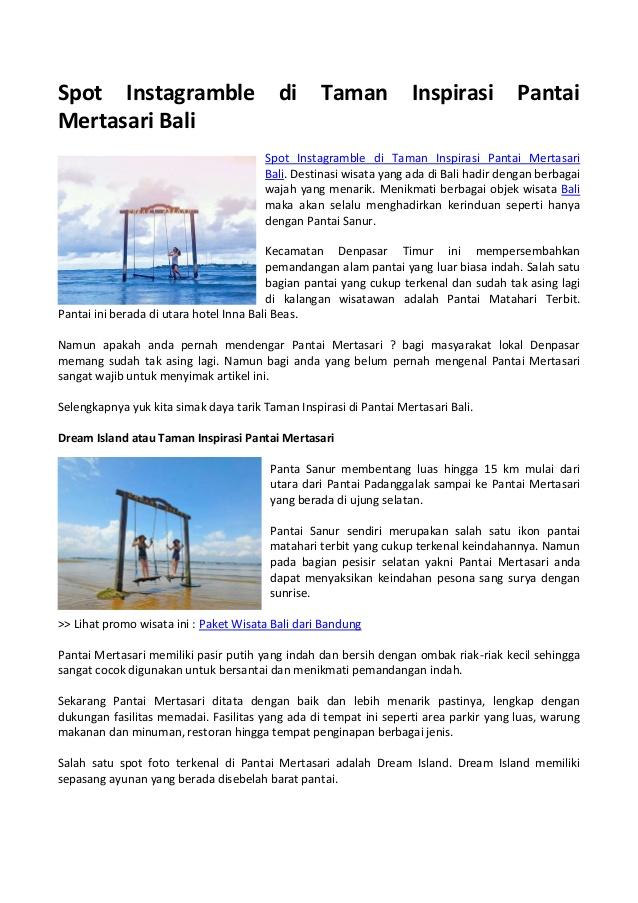 Spot Instagramble Taman Inspirasi Pantai Mertasari Bali Kota Denpasar