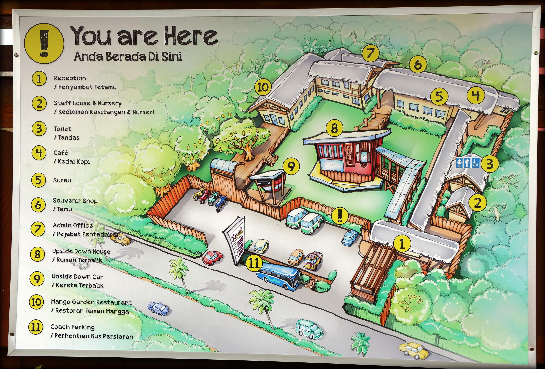 Upside World Bali Map Rumah Terbalik Asia 1st House Kota