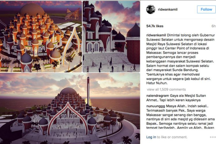 Makassar Merdeka Kang Emil Unggah Desain Masjid 99 Kubah Raya