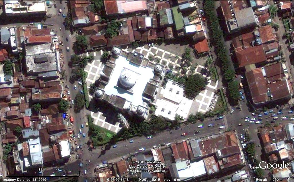 Rindu Masjid Raya Makassar Udara Foto Google Earth Kota