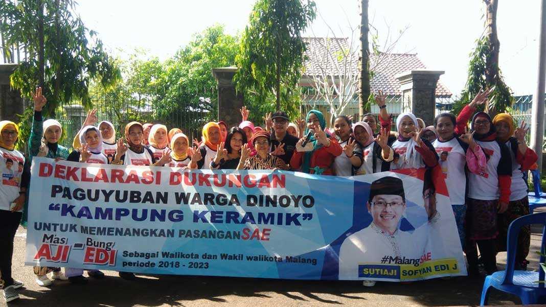Kampung Keramik Dinoyo Dukung Paslon Sae Deklarasi Kota Malang