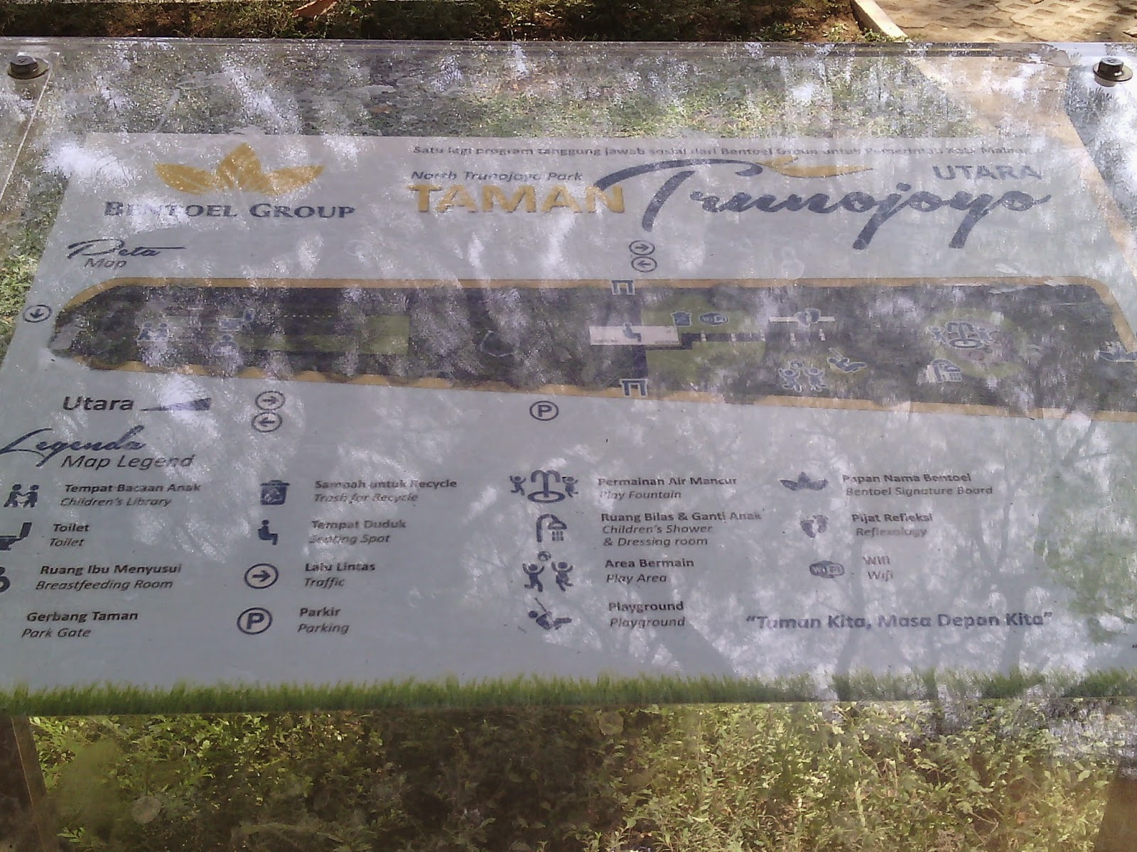 Arsitektur Landscape Taman Bentoel Trunojoyo Kota Malang Denah Lokasi Bagian