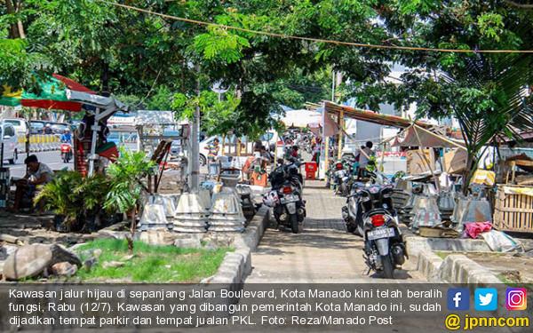 Pkl Kuasai Kawasan Jalur Hijau Manado Jpnn Foto Sepanjang Jalan