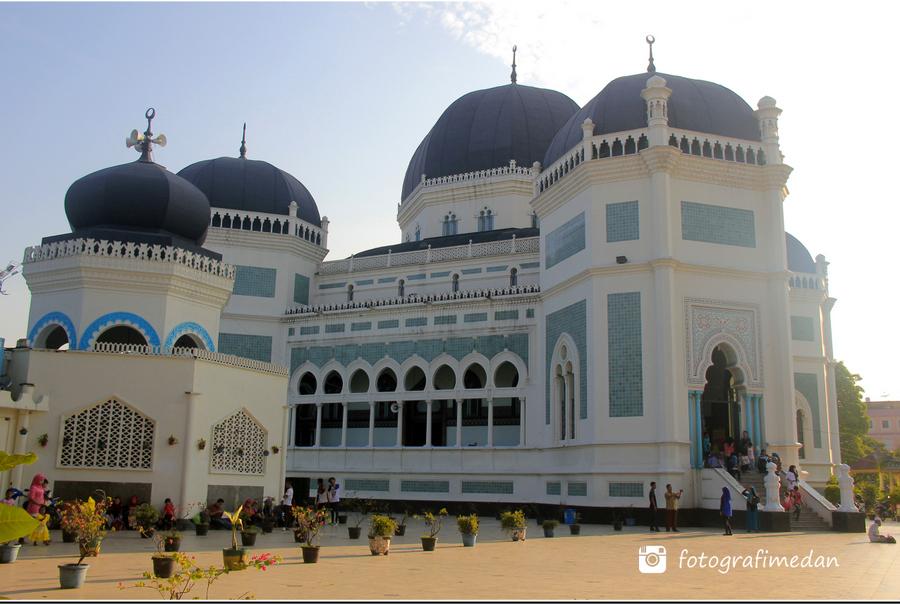 Masjid Raya Al Mahsun Medan Fotografi Kota Sumatera Utara