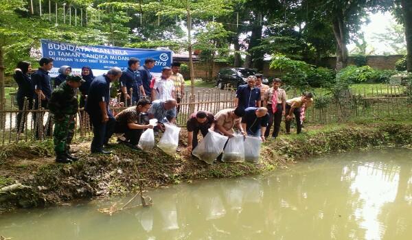Asuransi Astra Tebar Bibit Ikan Nila Kolam Taman Cadika Pramuka