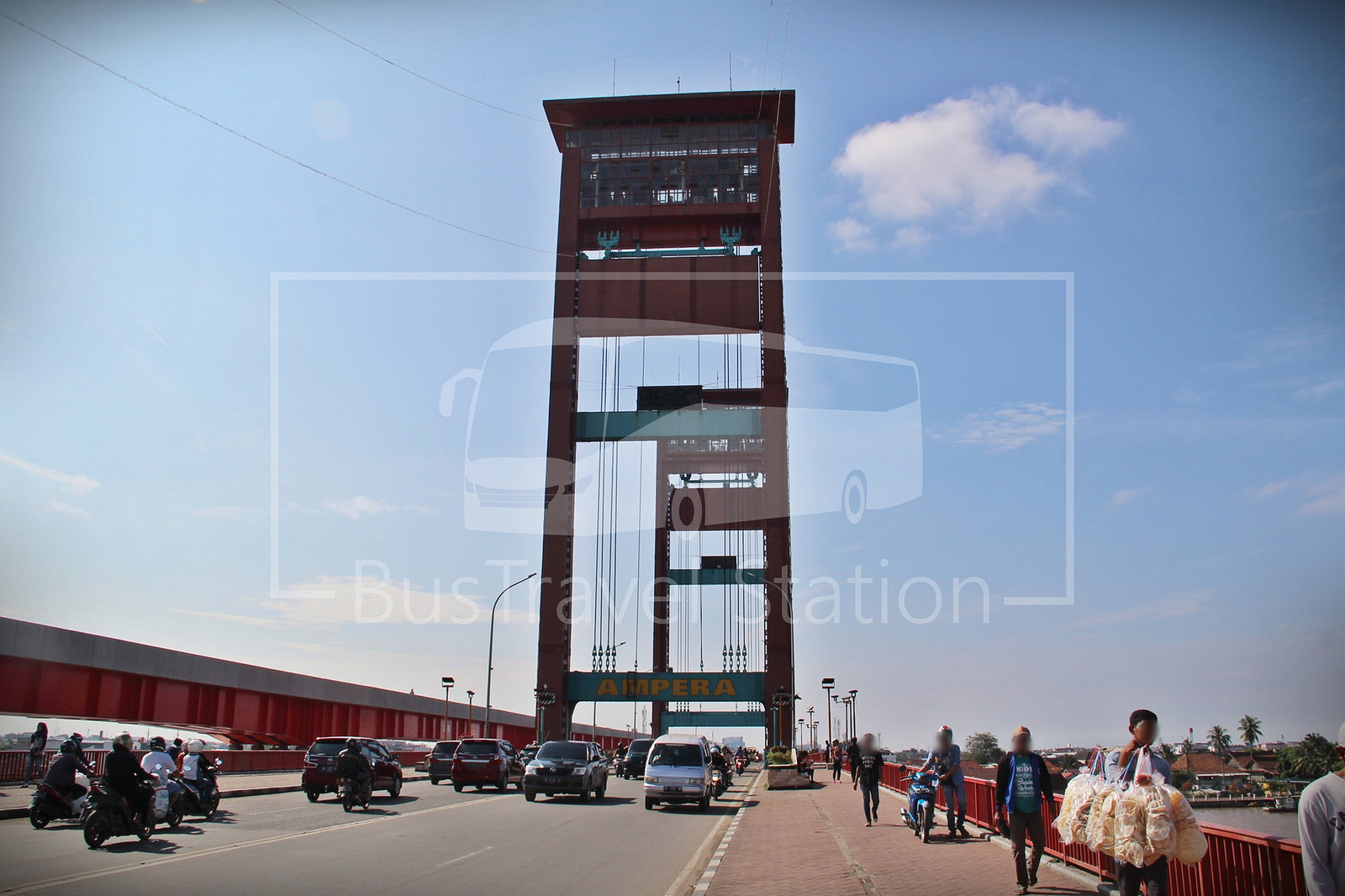 Masjid Agung Palembang Bustravel Station Main Attraction Ampera Bridge Vertical