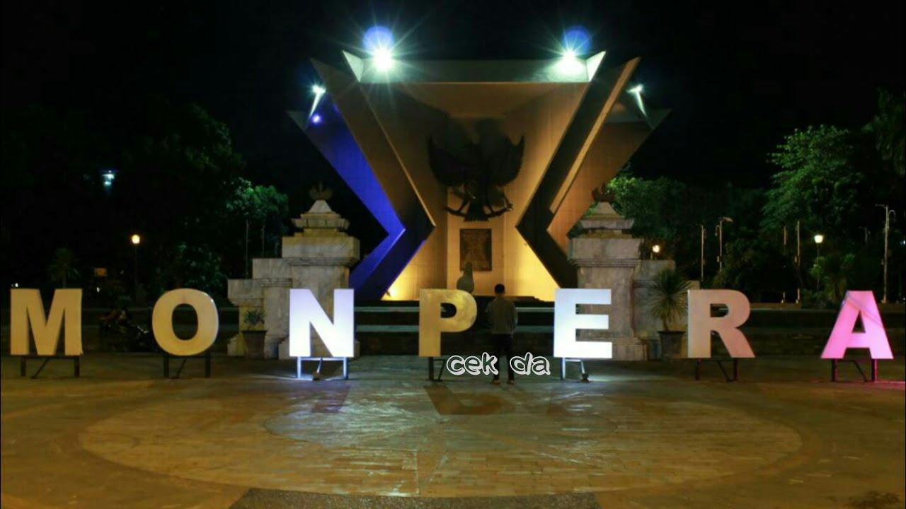 Suasan Malam Hari Monumen Perjuangan Rakyat Monpera Palembang Sumatera Selatan