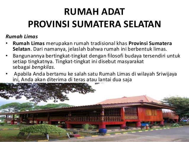 Rumah Adat Tarian Tradisional Pulau Sumatera Provinsi Selatan Limas Kota