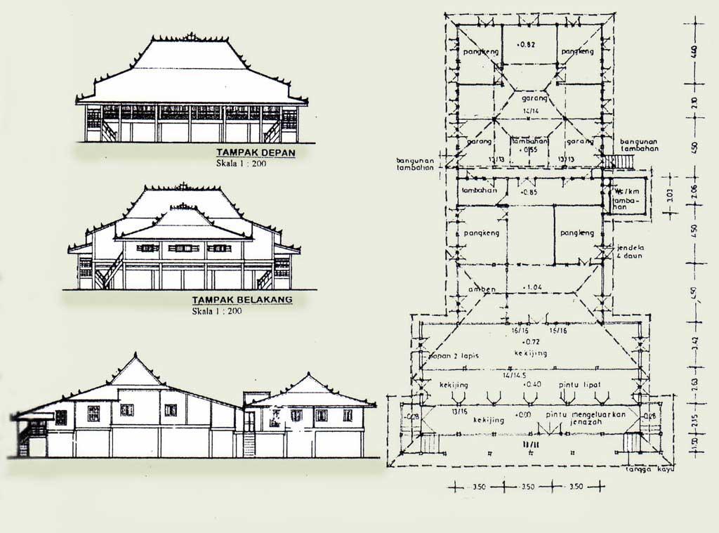 Rumah Limas Tradisional Sumatera Selatan Sumatra Denah Kota Palembang