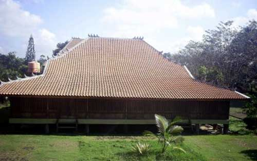 Rumah Limas Tradisional Sumatera Selatan Sumatra Tampak Depan Kota Palembang