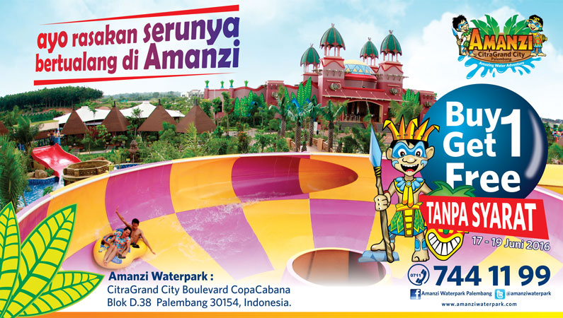 Buy1 Get1 Amanzi Waterpark Taman Air Citra Grand Kota Palembang