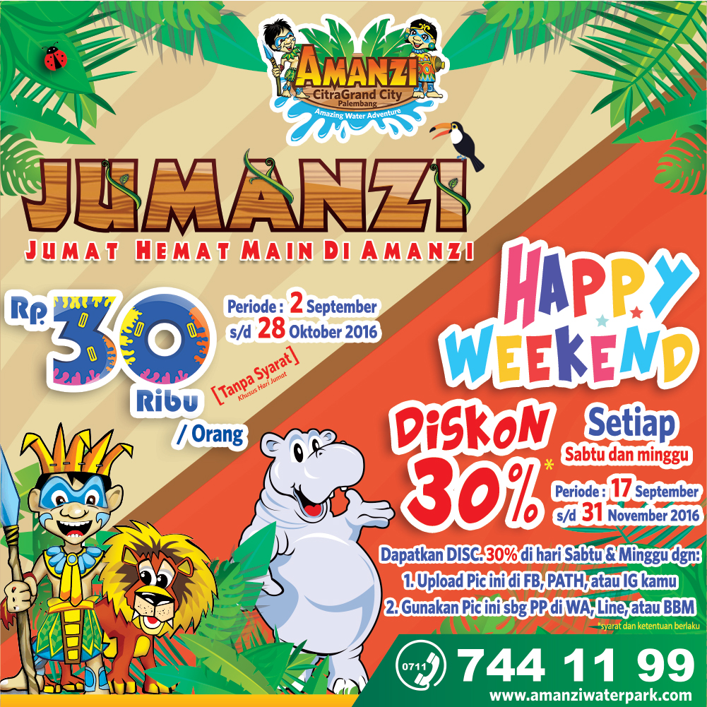 Sabtu Minggu Amanzi Waterpark Geber Diskon Happy Weekend 30 Memasang