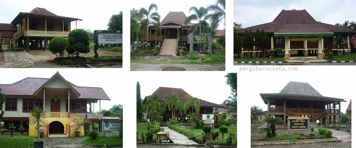 Obyek Wisata Taman Pelangi Sriwijaya Bercahaya Malam Hari Rumah Adat