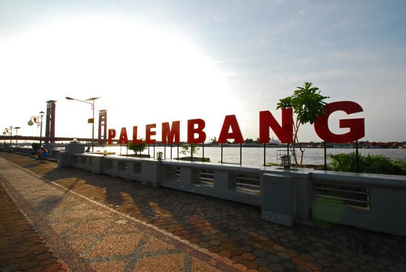 Warna Warni Taman Pelangi Sekanak Heritage Village Plaza Benteng Kuto