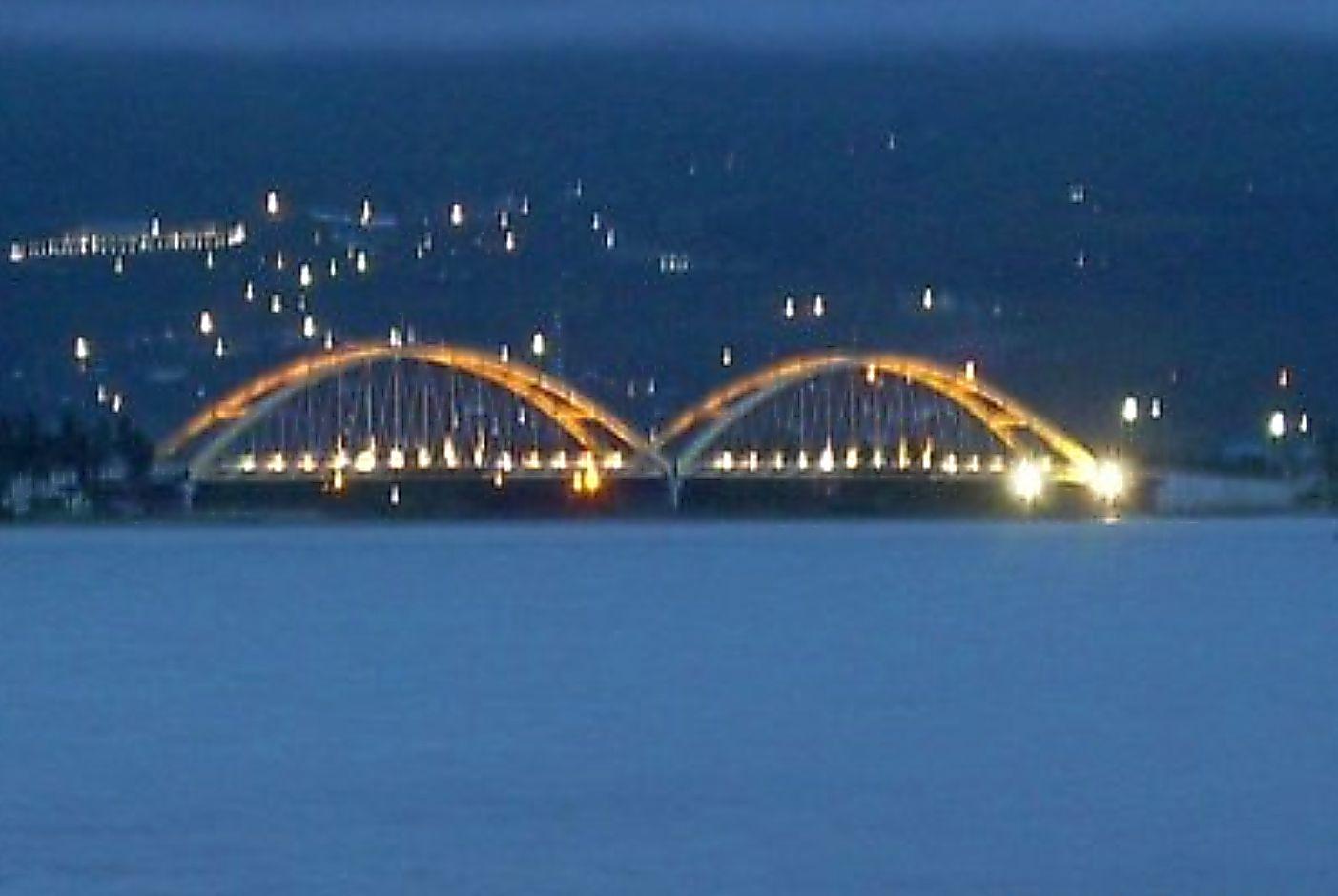 Tampungan Panorama Alam Palu Sekitarnya Jembatan Teluk Waktu Malam Iv