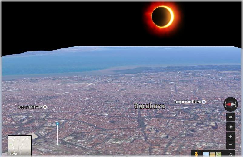 Gerhana Matahari Maret 2016 Sudut Pandang Surabaya Ilustrasi Dramatisir Langit