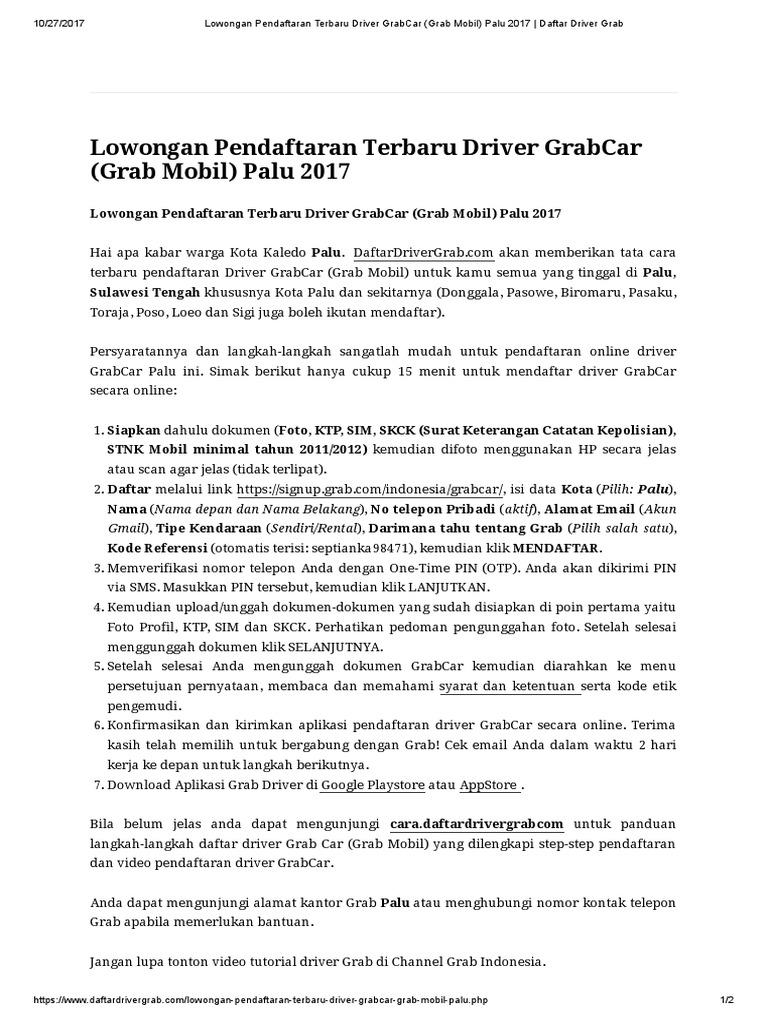 Lowongan Pendaftaran Terbaru Driver Grabcar Grab Mobil Palu 2017 Daftar