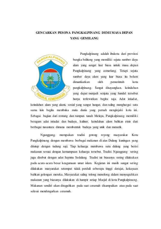 Gencarkan Pesona Pangkalpinang Demi Depan Gemilang Ibukota Provinsi Bangka Belitung