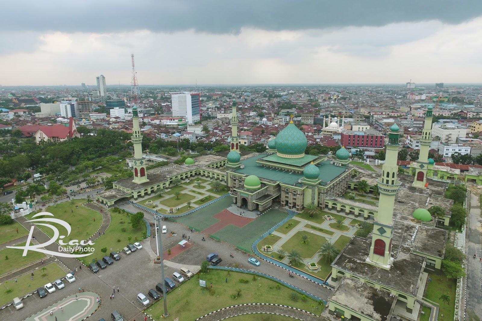 Photo Udara Mesjid Agung Nur Pekanbaru Riau Daily Masjid Kota