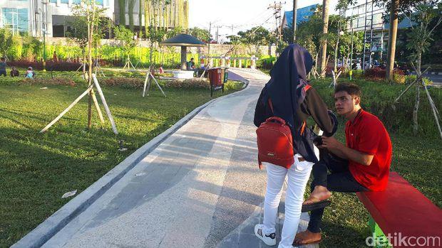 Buka Rth Putri Kaca Mayang Ramai Dikunjungi Warga Pekanbaru Suasana