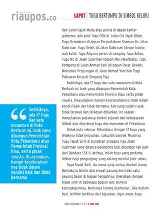 Majalah Riau Pos Issuu Laput Tugu Bertumpu Simbol Keliru Pahlawan