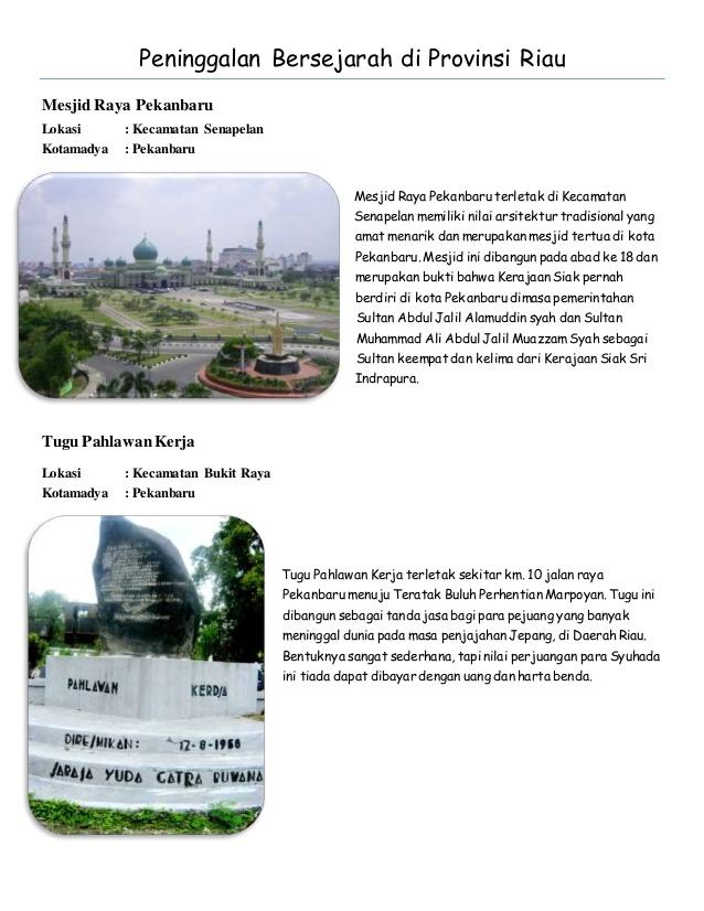 Peninggalan Bersejarah Riau Provinsi Mesjid Raya Pekanbaru Lokasi Kecamatan Senapelan