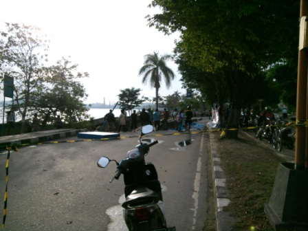 Samarinda City Mei 2013 Jalan Amblas Tepian Objek Wisata Patung