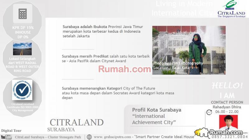 Citraland Surabaya Cluster Stonegate Park Tipe Maple Citra Raya International