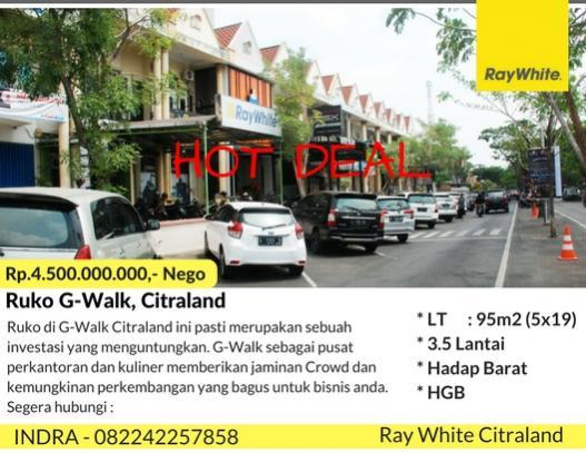 Ruko Dijual Menarik Walk Citraland Kota Surabaya