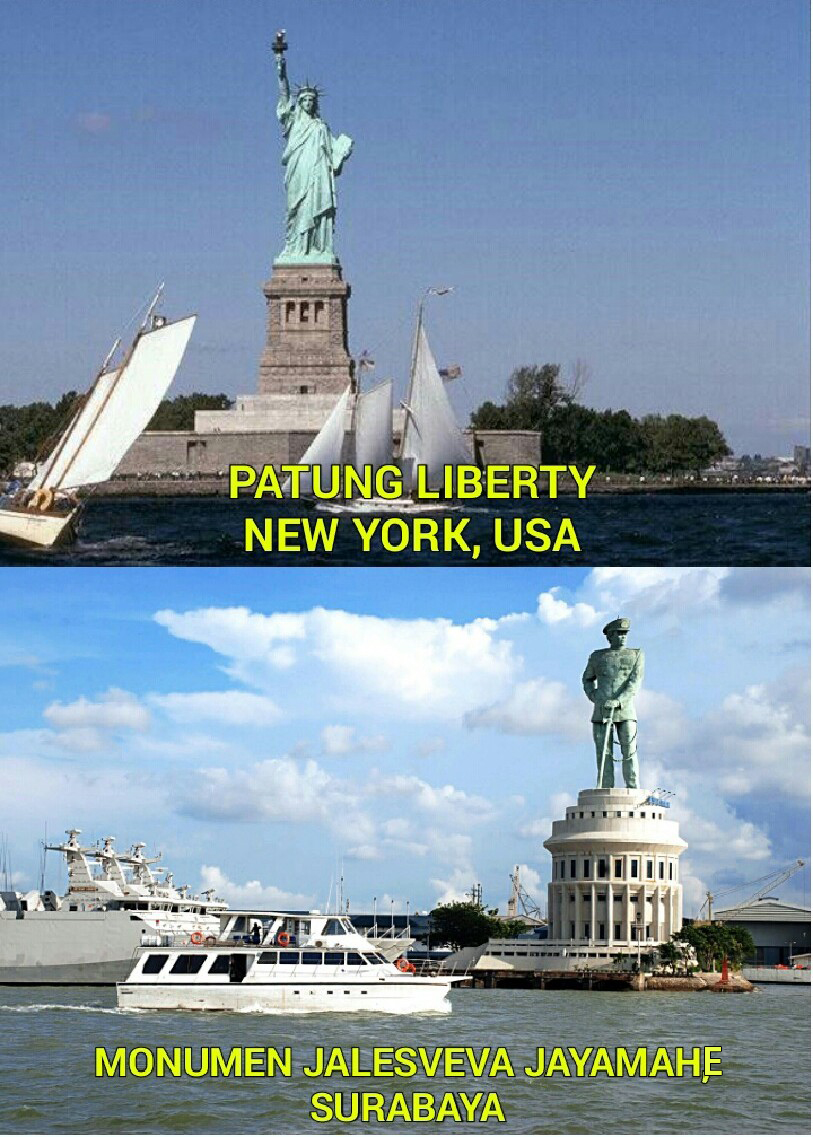 Patung Liberty Monumen Jalesveva Jayamahe Indonesia Kota Surabaya
