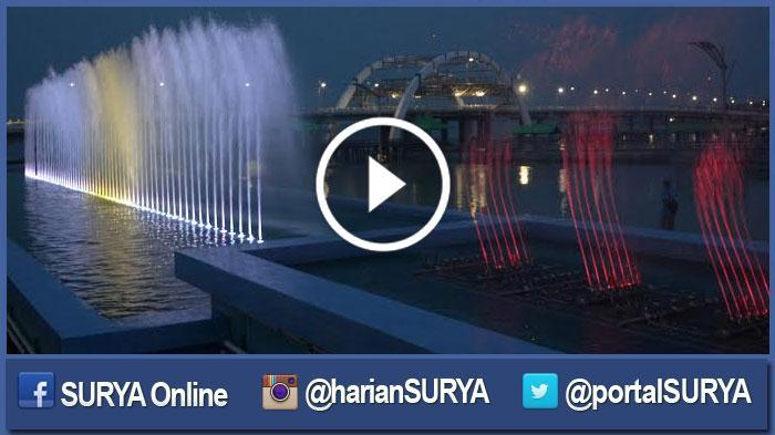 Video Lihat Indahnya Air Mancur Menari Jembatan Kenjeran Diresmikan Surya