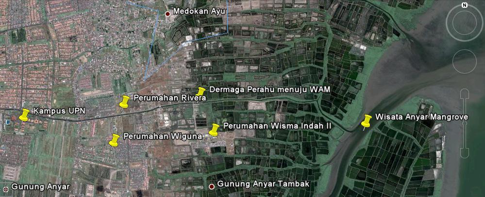 Peta Lokasi Wam Wisata Anyar Mangrove Surabaya Perjalanan Hutan Wonorejo