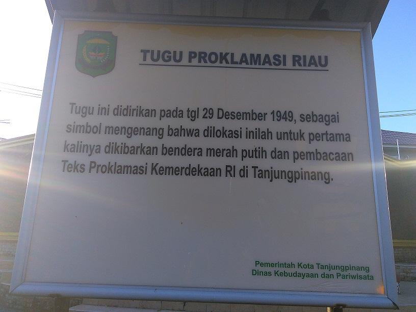 Blog Siunthel Tugu Monumen Kemerdekaan Kota Tanjungpinang Dok Pribadi Gonggong