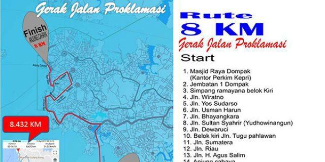 Inilah Rute Gerak Jalan 8 Km Sijori Kepri Tugu Proklamasi